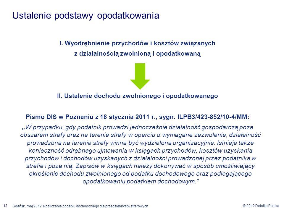 © 2012 Deloitte Polska 13 Gdańsk, maj 2012: Rozliczanie podatku dochodowego dla przedsiębiorstw strefowych I. Wyodrębnienie przychodów i kosztów związ