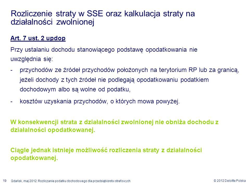 © 2012 Deloitte Polska 19 Gdańsk, maj 2012: Rozliczanie podatku dochodowego dla przedsiębiorstw strefowych Art. 7 ust. 2 updop Przy ustalaniu dochodu