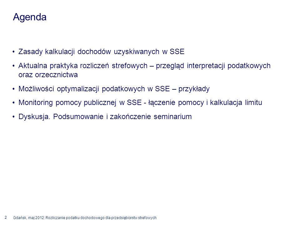 © 2012 Deloitte Polska 2 Gdańsk, maj 2012: Rozliczanie podatku dochodowego dla przedsiębiorstw strefowych Zasady kalkulacji dochodów uzyskiwanych w SS
