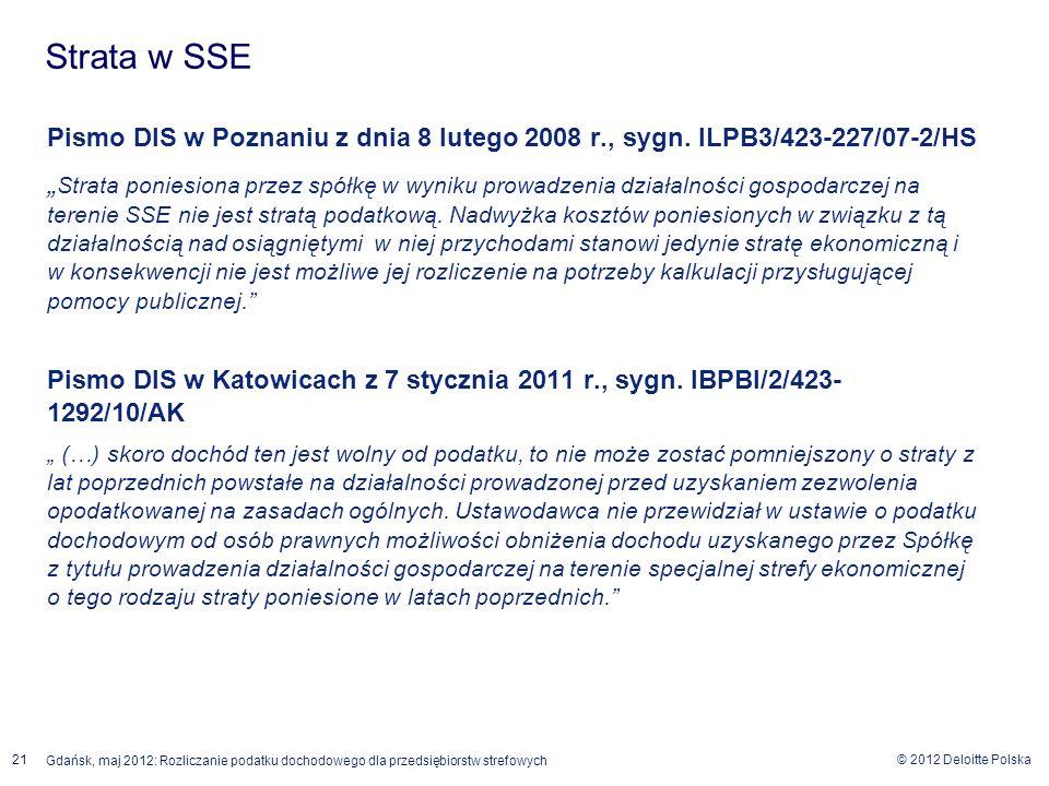 © 2012 Deloitte Polska 21 Gdańsk, maj 2012: Rozliczanie podatku dochodowego dla przedsiębiorstw strefowych Pismo DIS w Poznaniu z dnia 8 lutego 2008 r