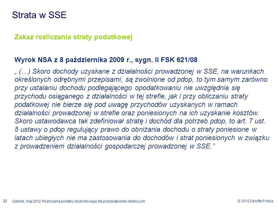 © 2012 Deloitte Polska 22 Gdańsk, maj 2012: Rozliczanie podatku dochodowego dla przedsiębiorstw strefowych Zakaz rozliczania straty podatkowej Wyrok N