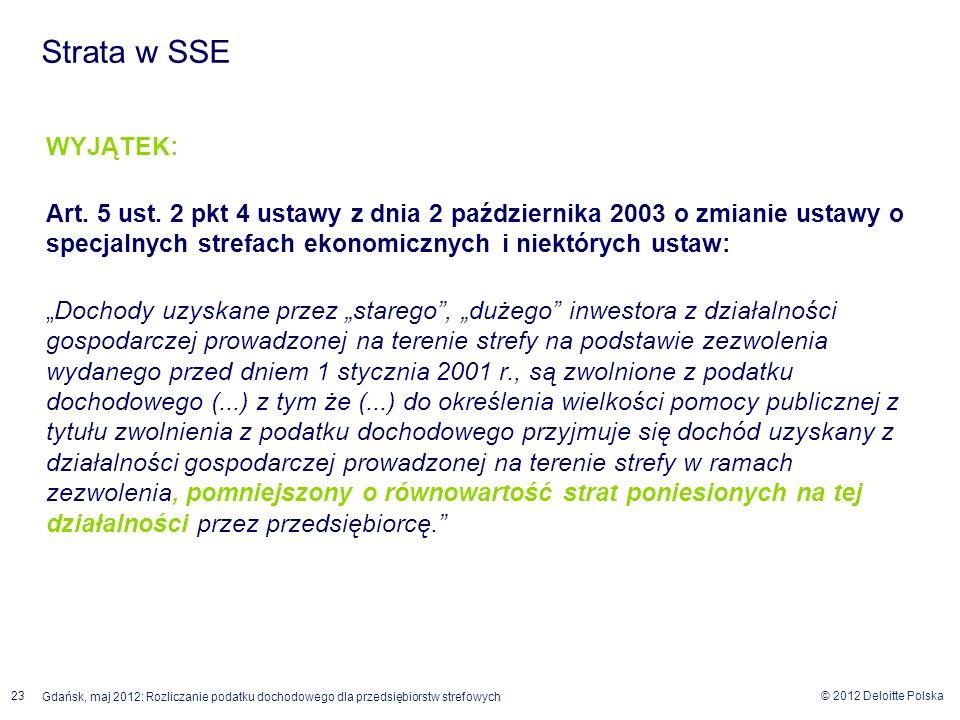 © 2012 Deloitte Polska 23 Gdańsk, maj 2012: Rozliczanie podatku dochodowego dla przedsiębiorstw strefowych WYJĄTEK: Art. 5 ust. 2 pkt 4 ustawy z dnia