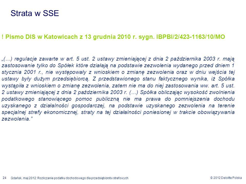 © 2012 Deloitte Polska 24 Gdańsk, maj 2012: Rozliczanie podatku dochodowego dla przedsiębiorstw strefowych ! Pismo DIS w Katowicach z 13 grudnia 2010