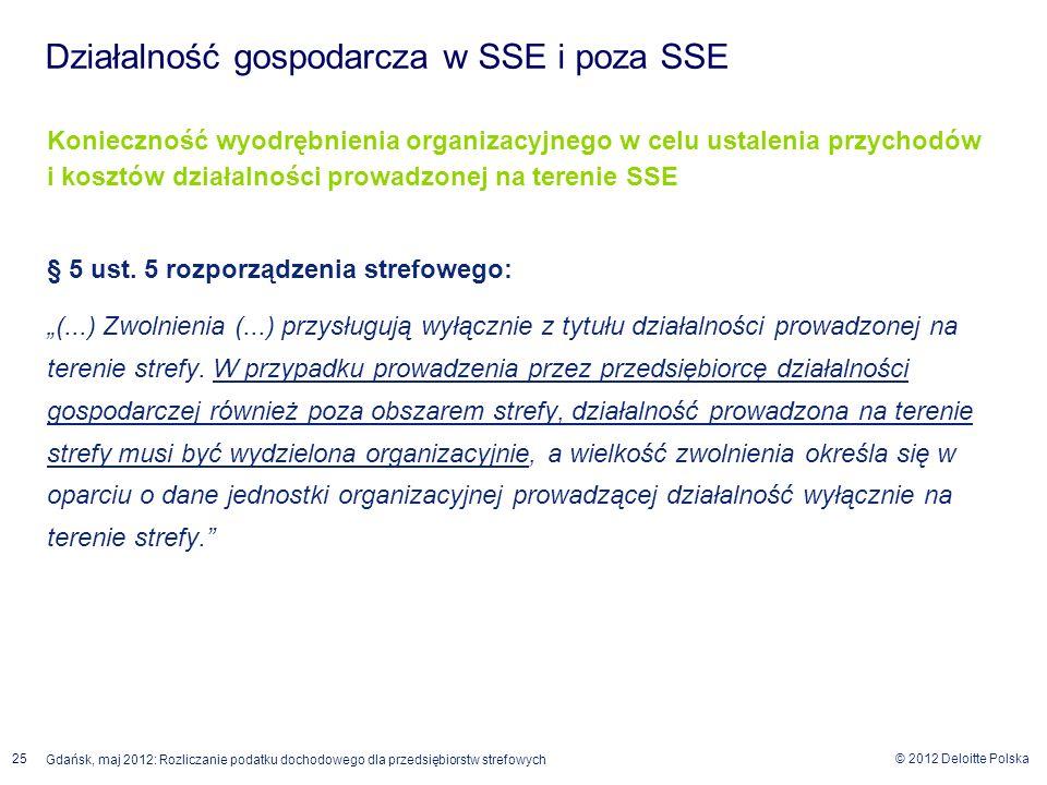 © 2012 Deloitte Polska 25 Gdańsk, maj 2012: Rozliczanie podatku dochodowego dla przedsiębiorstw strefowych Konieczność wyodrębnienia organizacyjnego w