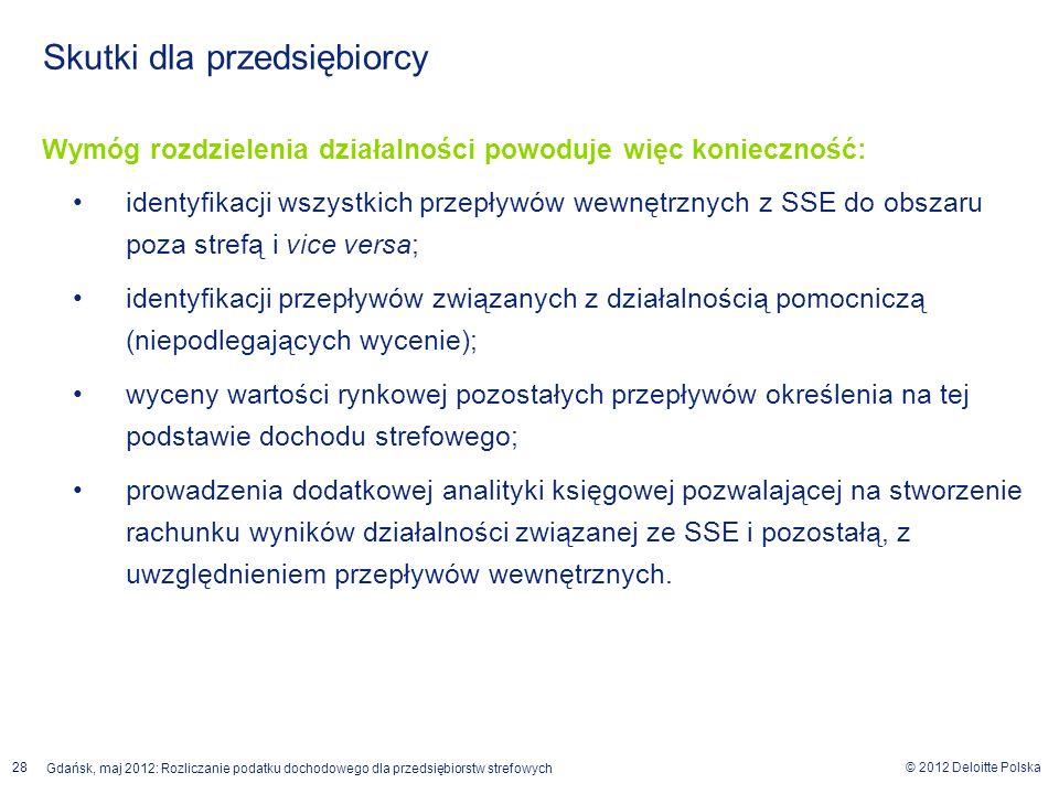© 2012 Deloitte Polska Gdańsk, maj 2012: Rozliczanie podatku dochodowego dla przedsiębiorstw strefowych 28 Skutki dla przedsiębiorcy Wymóg rozdzieleni