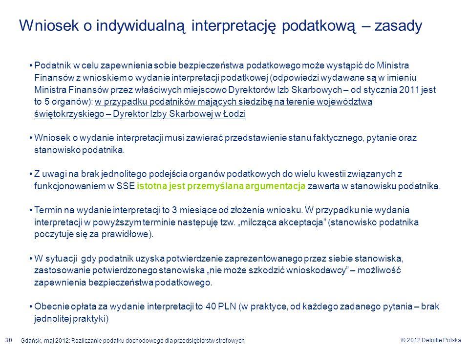 © 2012 Deloitte Polska Gdańsk, maj 2012: Rozliczanie podatku dochodowego dla przedsiębiorstw strefowych 30 Podatnik w celu zapewnienia sobie bezpiecze