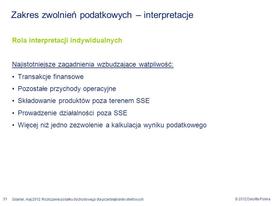 © 2012 Deloitte Polska Gdańsk, maj 2012: Rozliczanie podatku dochodowego dla przedsiębiorstw strefowych 31 Rola interpretacji indywidualnych Najistotn