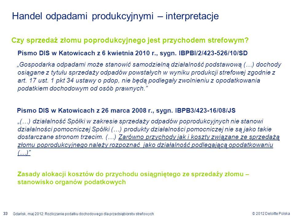© 2012 Deloitte Polska Gdańsk, maj 2012: Rozliczanie podatku dochodowego dla przedsiębiorstw strefowych 33 Czy sprzedaż złomu poprodukcyjnego jest prz