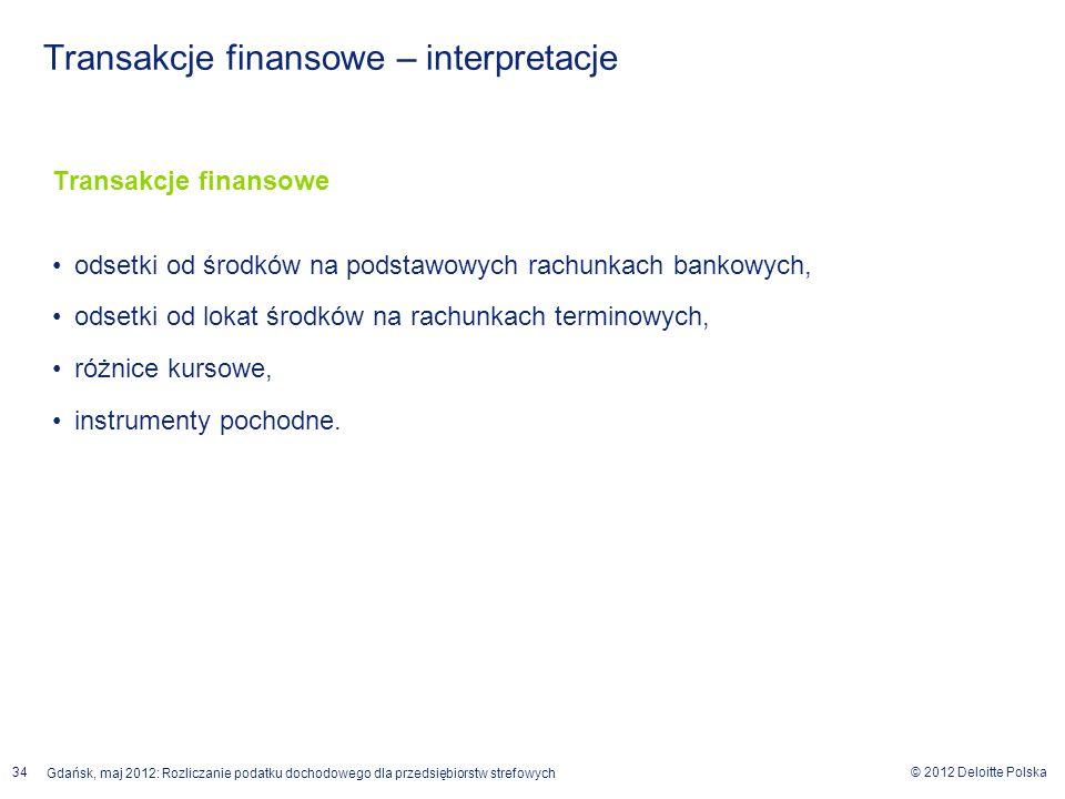 © 2012 Deloitte Polska Gdańsk, maj 2012: Rozliczanie podatku dochodowego dla przedsiębiorstw strefowych 34 Transakcje finansowe odsetki od środków na