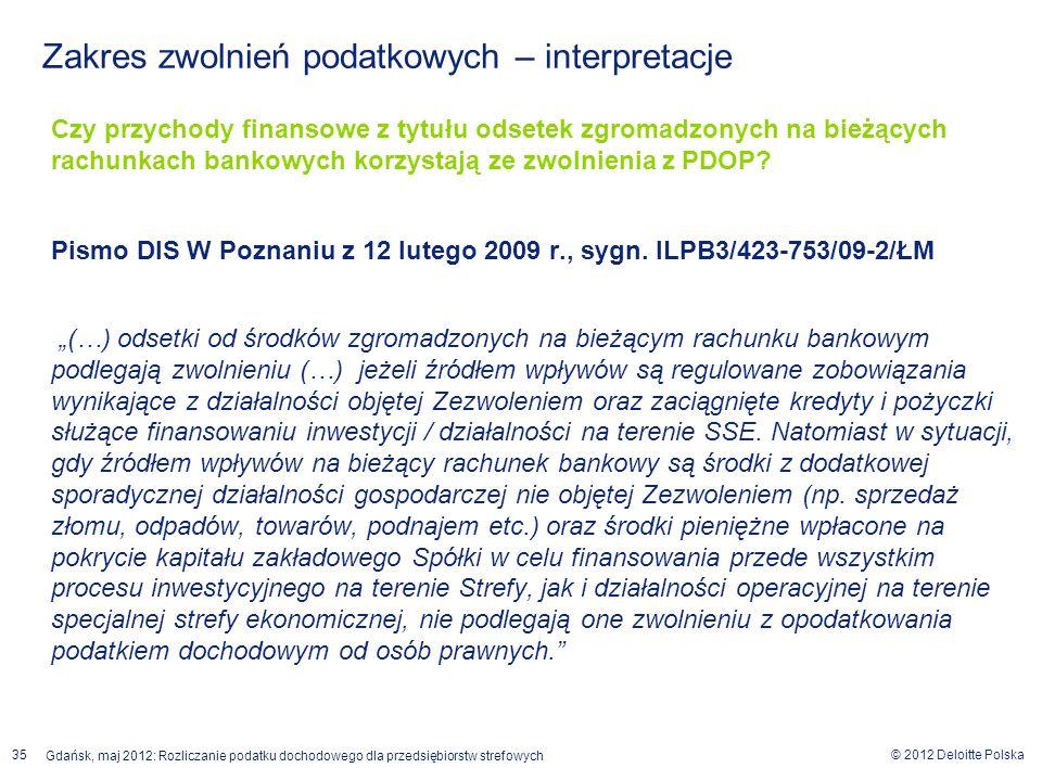 © 2012 Deloitte Polska Gdańsk, maj 2012: Rozliczanie podatku dochodowego dla przedsiębiorstw strefowych 35 Czy przychody finansowe z tytułu odsetek zg