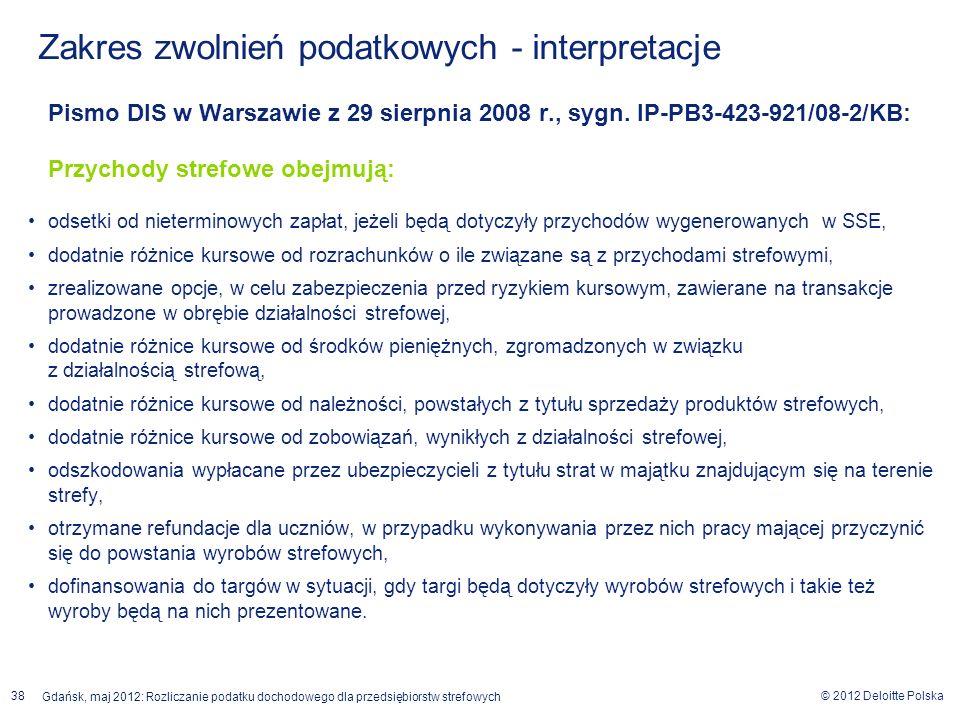 © 2012 Deloitte Polska Gdańsk, maj 2012: Rozliczanie podatku dochodowego dla przedsiębiorstw strefowych 38 Pismo DIS w Warszawie z 29 sierpnia 2008 r.