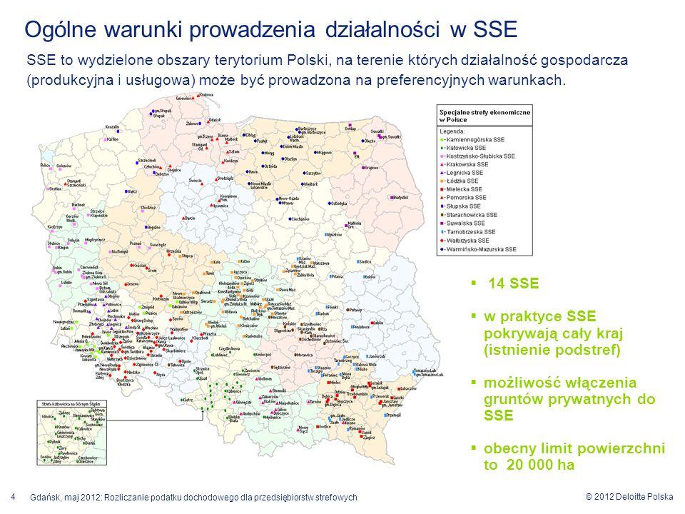 © 2012 Deloitte Polska 4 Gdańsk, maj 2012: Rozliczanie podatku dochodowego dla przedsiębiorstw strefowych Ogólne warunki prowadzenia działalności w SS