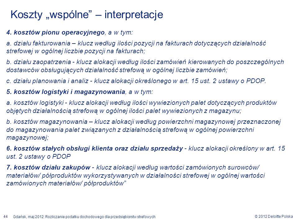 © 2012 Deloitte Polska Gdańsk, maj 2012: Rozliczanie podatku dochodowego dla przedsiębiorstw strefowych 44 4. kosztów pionu operacyjnego, a w tym: a.