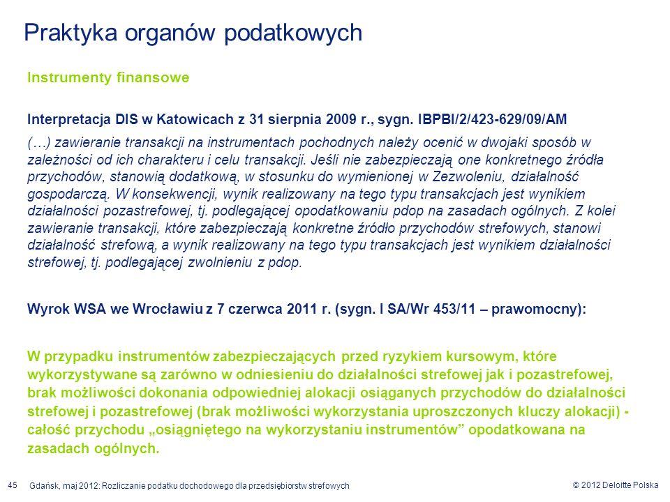 © 2012 Deloitte Polska Gdańsk, maj 2012: Rozliczanie podatku dochodowego dla przedsiębiorstw strefowych 45 Instrumenty finansowe Interpretacja DIS w K