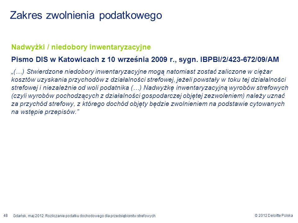 © 2012 Deloitte Polska Gdańsk, maj 2012: Rozliczanie podatku dochodowego dla przedsiębiorstw strefowych 48 Nadwyżki / niedobory inwentaryzacyjne Pismo