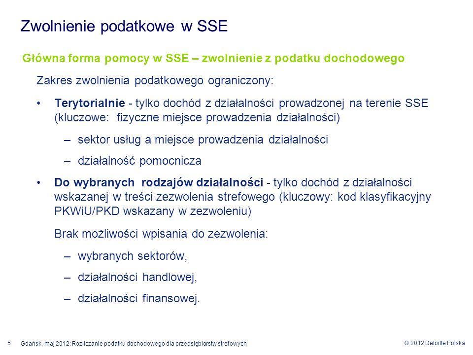 © 2012 Deloitte Polska Gdańsk, maj 2012: Rozliczanie podatku dochodowego dla przedsiębiorstw strefowych 5 Główna forma pomocy w SSE – zwolnienie z pod
