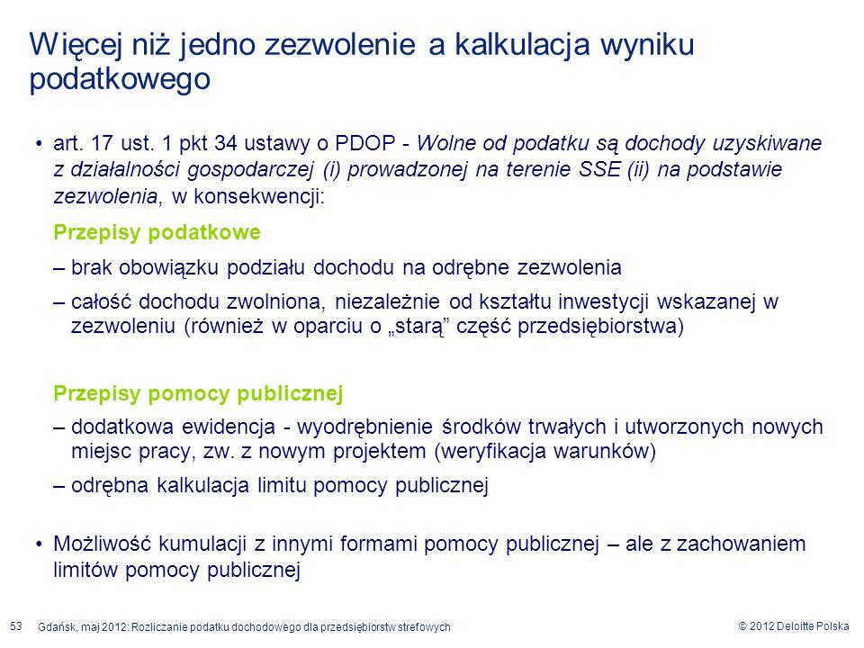 © 2012 Deloitte Polska Gdańsk, maj 2012: Rozliczanie podatku dochodowego dla przedsiębiorstw strefowych 53 art. 17 ust. 1 pkt 34 ustawy o PDOP - Wolne