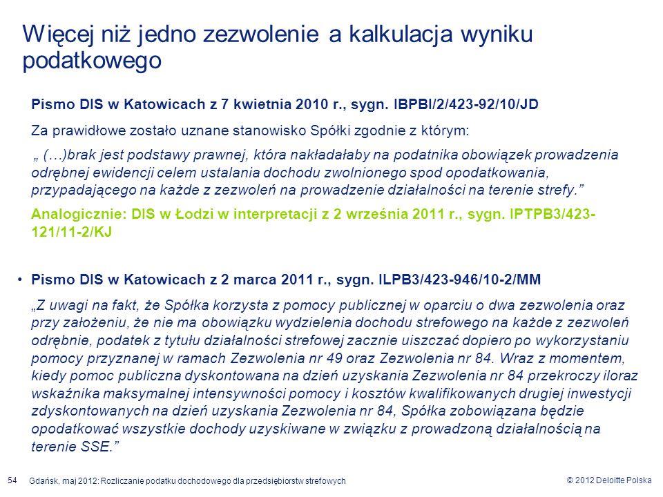 © 2012 Deloitte Polska Gdańsk, maj 2012: Rozliczanie podatku dochodowego dla przedsiębiorstw strefowych 54 Pismo DIS w Katowicach z 7 kwietnia 2010 r.