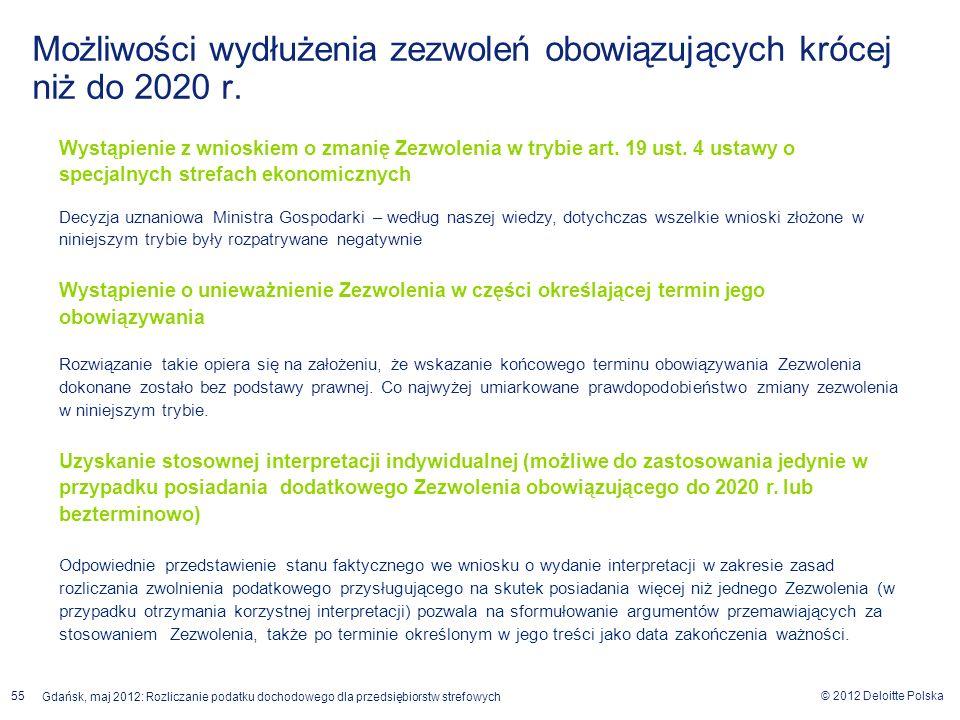 © 2012 Deloitte Polska Gdańsk, maj 2012: Rozliczanie podatku dochodowego dla przedsiębiorstw strefowych 55 Możliwości wydłużenia zezwoleń obowiązujący