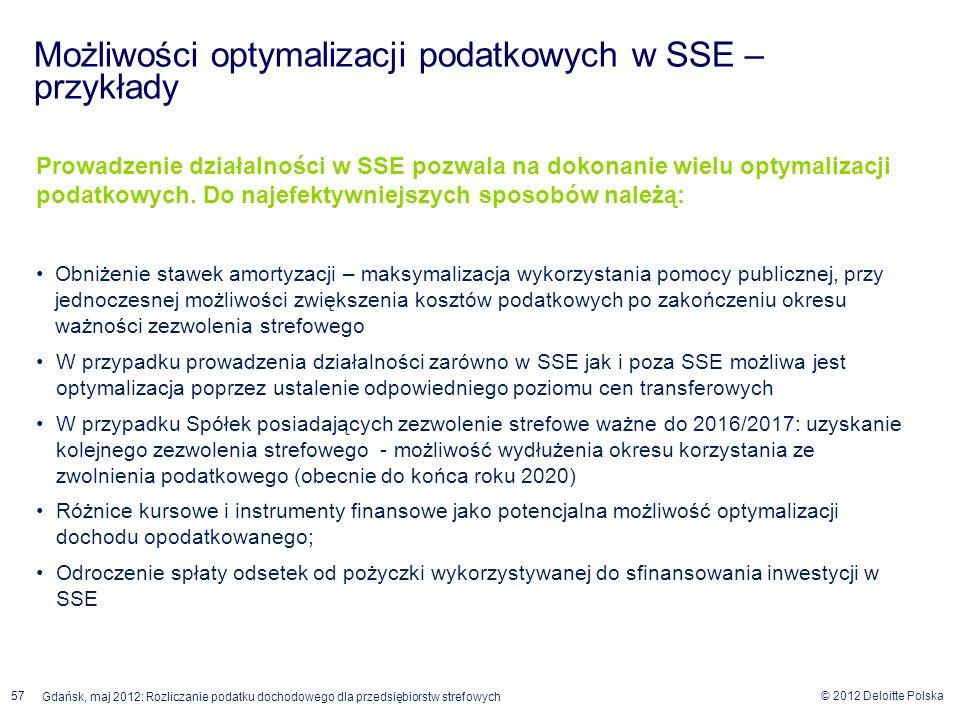 © 2012 Deloitte Polska Gdańsk, maj 2012: Rozliczanie podatku dochodowego dla przedsiębiorstw strefowych 57 Prowadzenie działalności w SSE pozwala na d