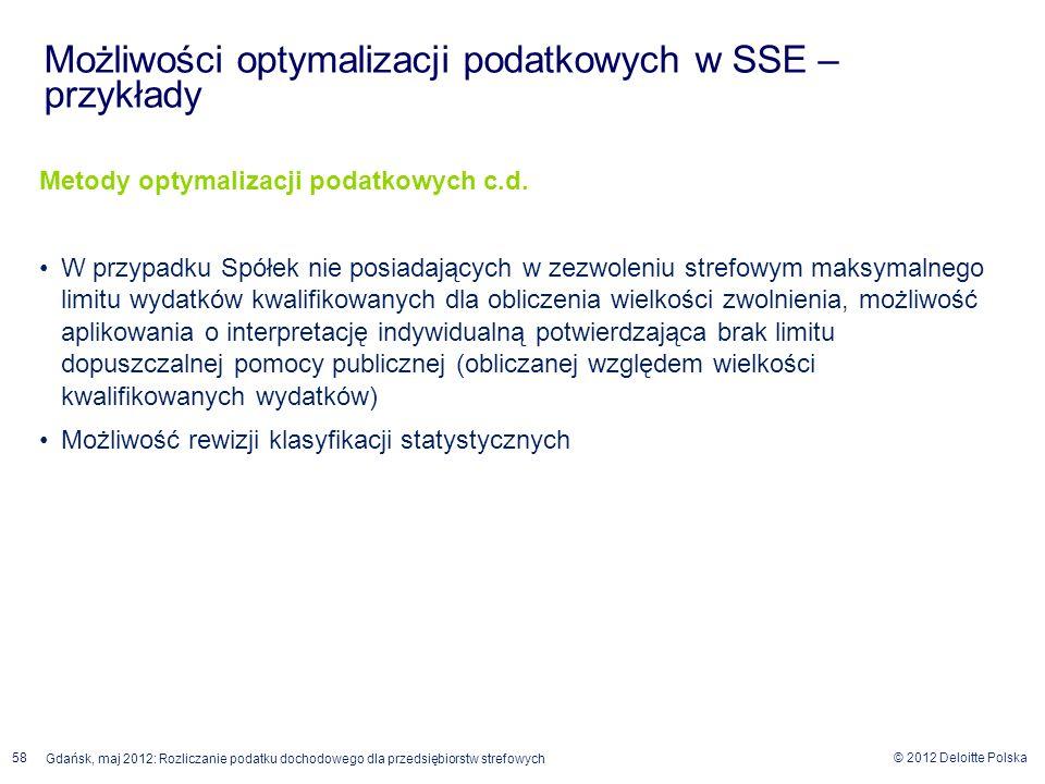 © 2012 Deloitte Polska Gdańsk, maj 2012: Rozliczanie podatku dochodowego dla przedsiębiorstw strefowych 58 Metody optymalizacji podatkowych c.d. W prz