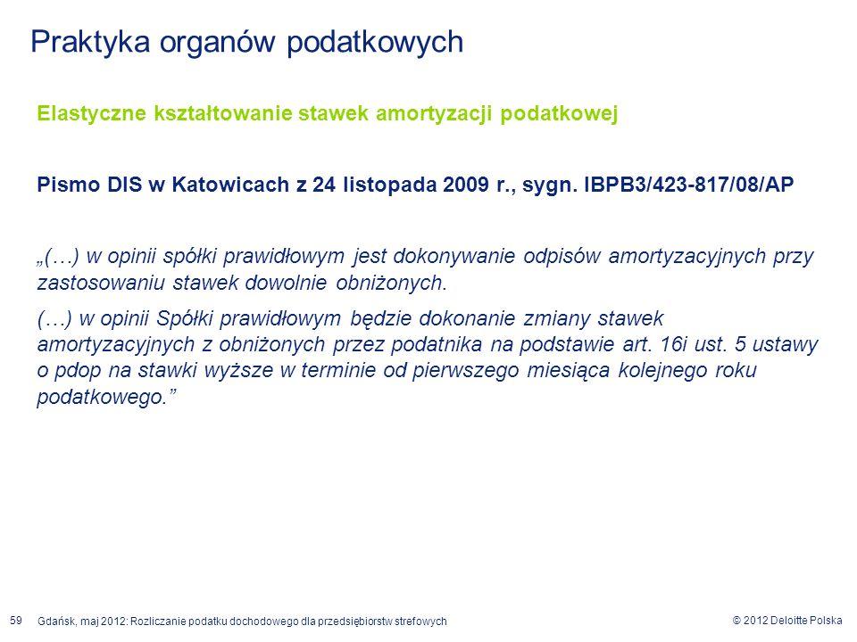© 2012 Deloitte Polska Gdańsk, maj 2012: Rozliczanie podatku dochodowego dla przedsiębiorstw strefowych 59 Elastyczne kształtowanie stawek amortyzacji