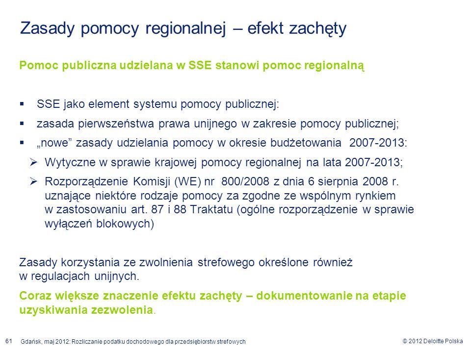 © 2012 Deloitte Polska Gdańsk, maj 2012: Rozliczanie podatku dochodowego dla przedsiębiorstw strefowych 61 Zasady pomocy regionalnej – efekt zachęty P