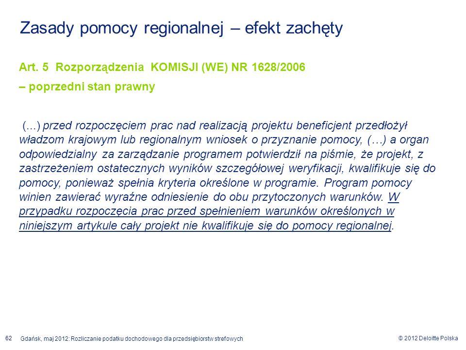 © 2012 Deloitte Polska Gdańsk, maj 2012: Rozliczanie podatku dochodowego dla przedsiębiorstw strefowych 62 Zasady pomocy regionalnej – efekt zachęty A