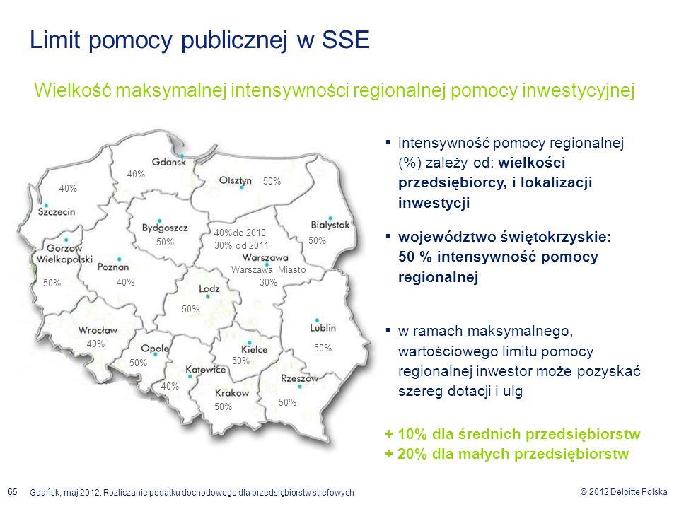 © 2012 Deloitte Polska Gdańsk, maj 2012: Rozliczanie podatku dochodowego dla przedsiębiorstw strefowych 65 Wielkość maksymalnej intensywności regional