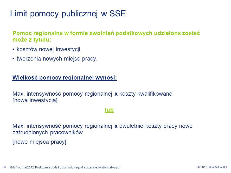 © 2012 Deloitte Polska Gdańsk, maj 2012: Rozliczanie podatku dochodowego dla przedsiębiorstw strefowych 66 Pomoc regionalna w formie zwolnień podatkow