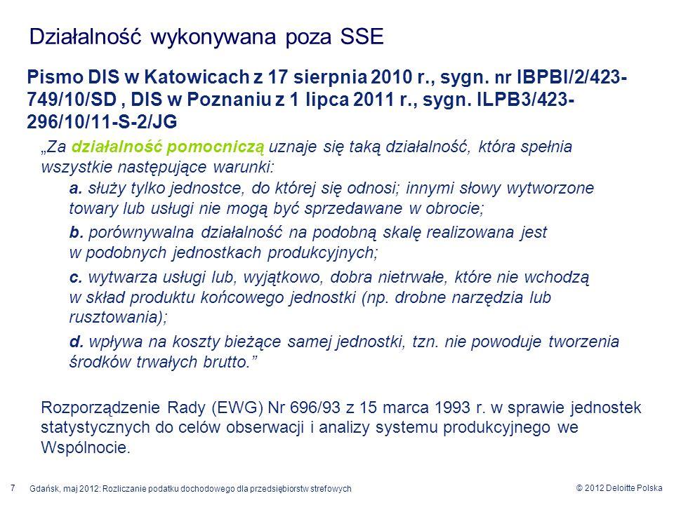 © 2012 Deloitte Polska Gdańsk, maj 2012: Rozliczanie podatku dochodowego dla przedsiębiorstw strefowych 7 Pismo DIS w Katowicach z 17 sierpnia 2010 r.