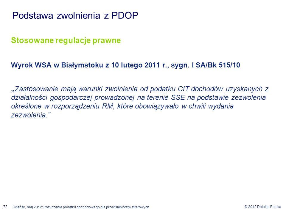 © 2012 Deloitte Polska 72 Gdańsk, maj 2012: Rozliczanie podatku dochodowego dla przedsiębiorstw strefowych Stosowane regulacje prawne Wyrok WSA w Biał