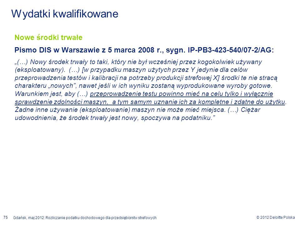 © 2012 Deloitte Polska Gdańsk, maj 2012: Rozliczanie podatku dochodowego dla przedsiębiorstw strefowych 75 Nowe środki trwałe Pismo DIS w Warszawie z