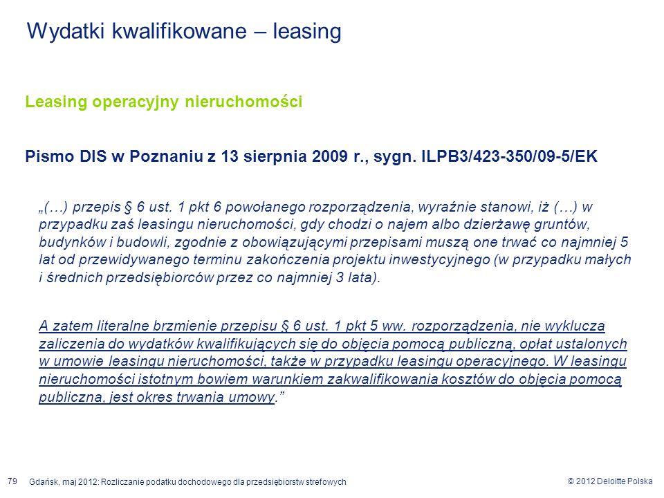 © 2012 Deloitte Polska Gdańsk, maj 2012: Rozliczanie podatku dochodowego dla przedsiębiorstw strefowych 79 Leasing operacyjny nieruchomości Pismo DIS