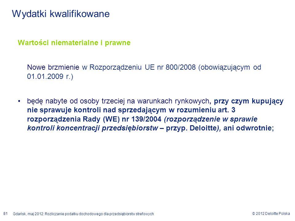 © 2012 Deloitte Polska Gdańsk, maj 2012: Rozliczanie podatku dochodowego dla przedsiębiorstw strefowych 81 Wartości niematerialne i prawne Nowe brzmie