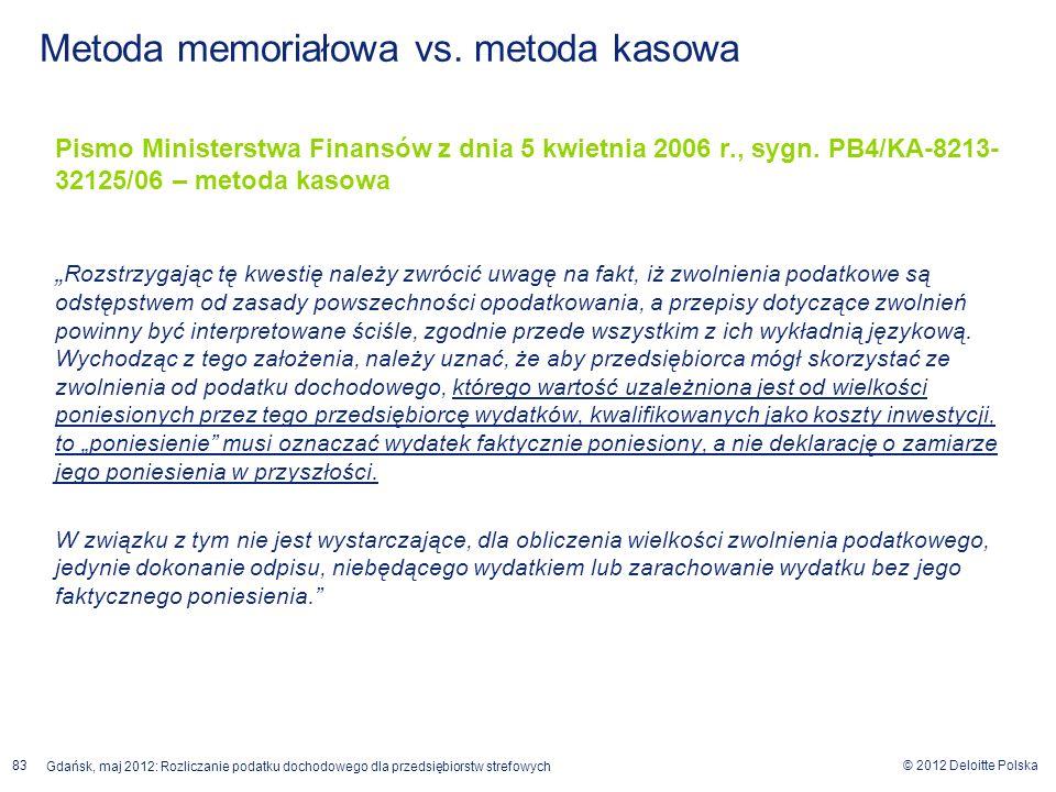 © 2012 Deloitte Polska Gdańsk, maj 2012: Rozliczanie podatku dochodowego dla przedsiębiorstw strefowych 83 Pismo Ministerstwa Finansów z dnia 5 kwietn