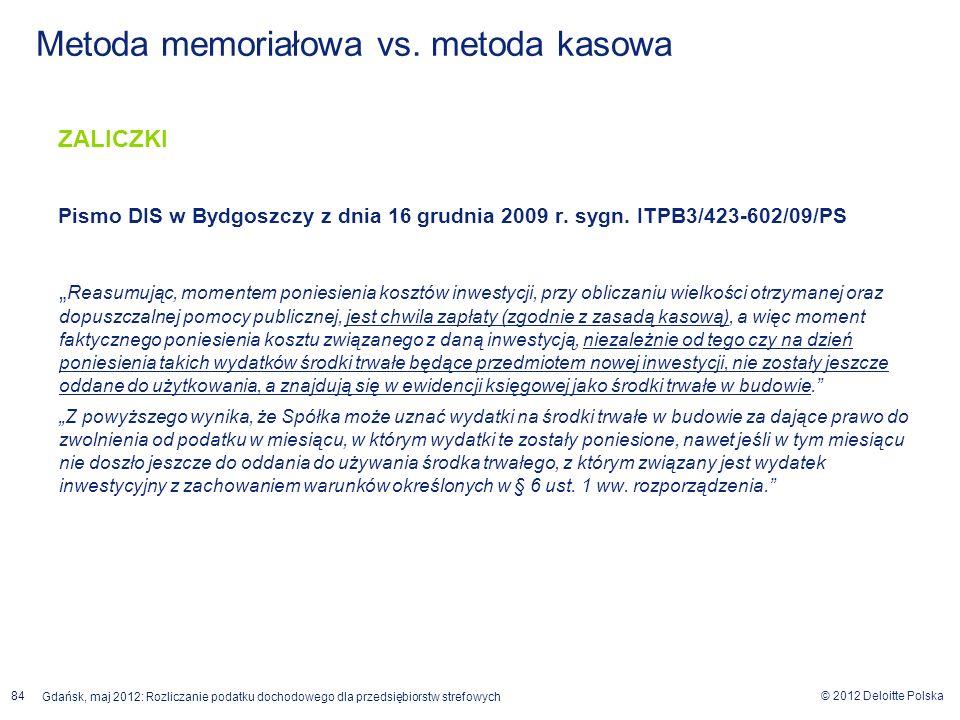 © 2012 Deloitte Polska Gdańsk, maj 2012: Rozliczanie podatku dochodowego dla przedsiębiorstw strefowych 84 ZALICZKI Pismo DIS w Bydgoszczy z dnia 16 g