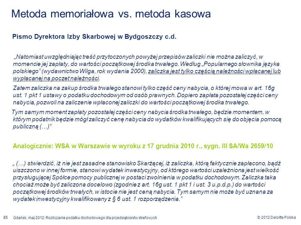 © 2012 Deloitte Polska Gdańsk, maj 2012: Rozliczanie podatku dochodowego dla przedsiębiorstw strefowych 85 Pismo Dyrektora Izby Skarbowej w Bydgoszczy