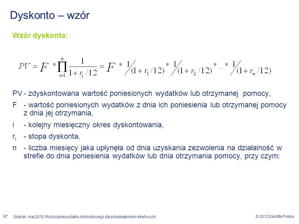 © 2012 Deloitte Polska Gdańsk, maj 2012: Rozliczanie podatku dochodowego dla przedsiębiorstw strefowych 87 Wzór dyskonta: PV- zdyskontowana wartość po