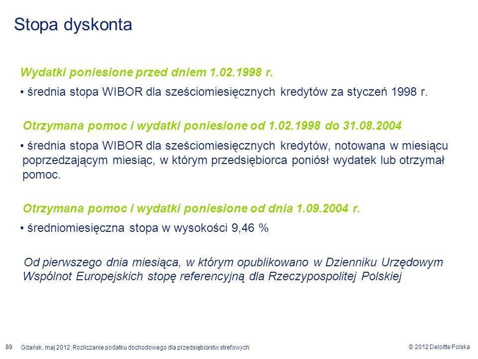 © 2012 Deloitte Polska Gdańsk, maj 2012: Rozliczanie podatku dochodowego dla przedsiębiorstw strefowych 89 Wydatki poniesione przed dniem 1.02.1998 r.