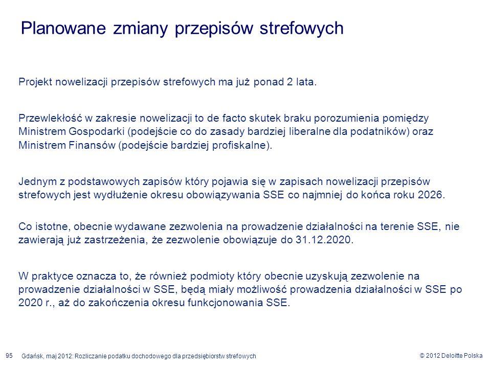 © 2012 Deloitte Polska Gdańsk, maj 2012: Rozliczanie podatku dochodowego dla przedsiębiorstw strefowych 95 Projekt nowelizacji przepisów strefowych ma