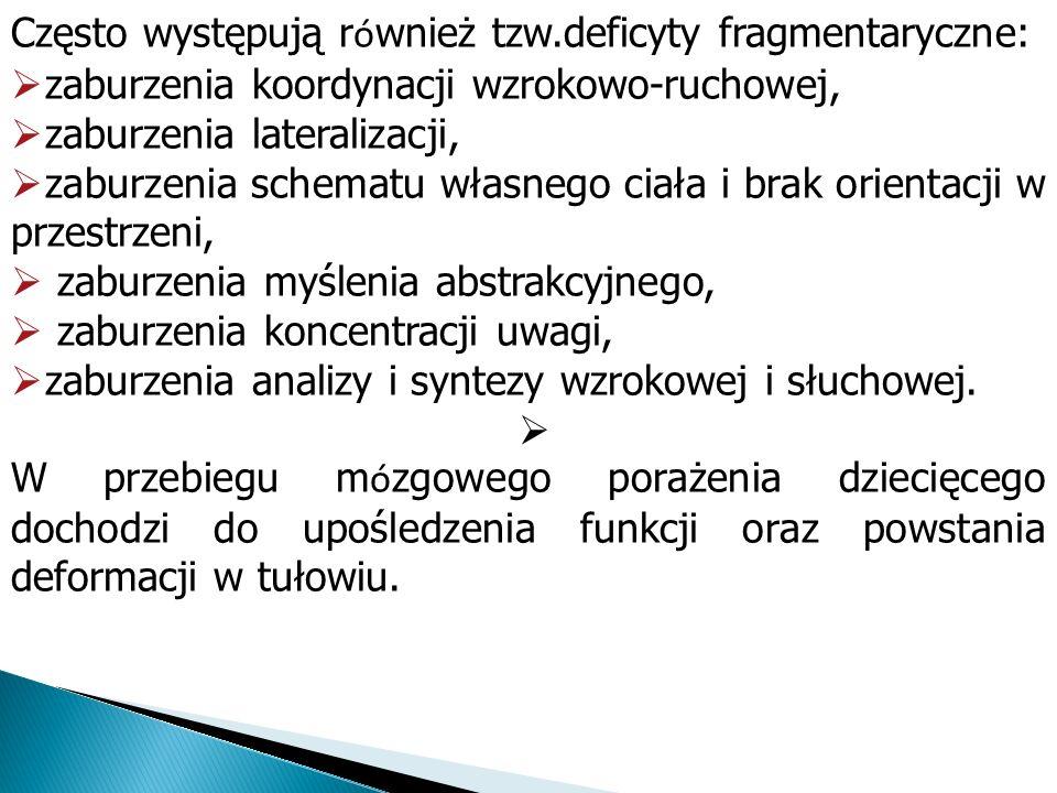 Często występują r ó wnież tzw.deficyty fragmentaryczne: zaburzenia koordynacji wzrokowo-ruchowej, zaburzenia lateralizacji, zaburzenia schematu własn