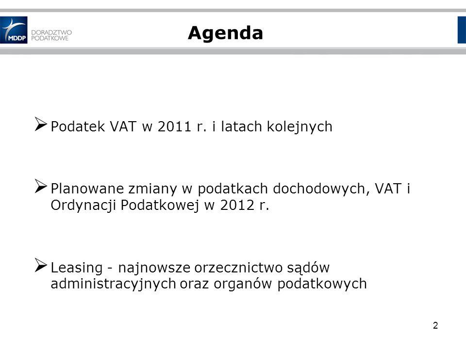Agenda Podatek VAT w 2011 r. i latach kolejnych Planowane zmiany w podatkach dochodowych, VAT i Ordynacji Podatkowej w 2012 r. Leasing - najnowsze orz