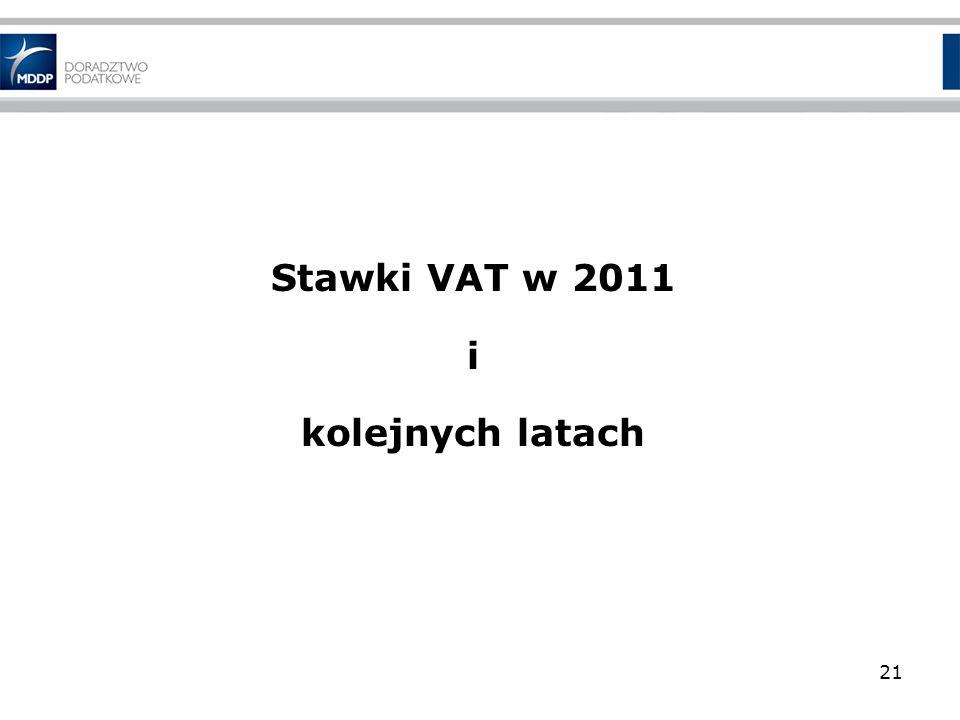 Stawki VAT w 2011 i kolejnych latach 21