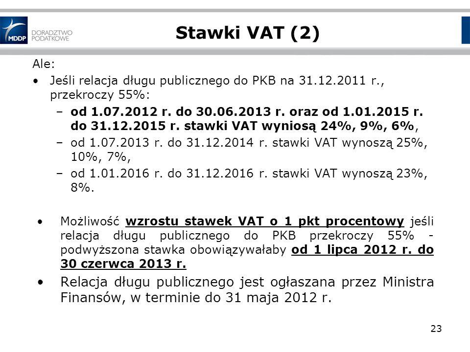 23 Stawki VAT (2) Ale: Jeśli relacja długu publicznego do PKB na 31.12.2011 r., przekroczy 55%: –od 1.07.2012 r. do 30.06.2013 r. oraz od 1.01.2015 r.