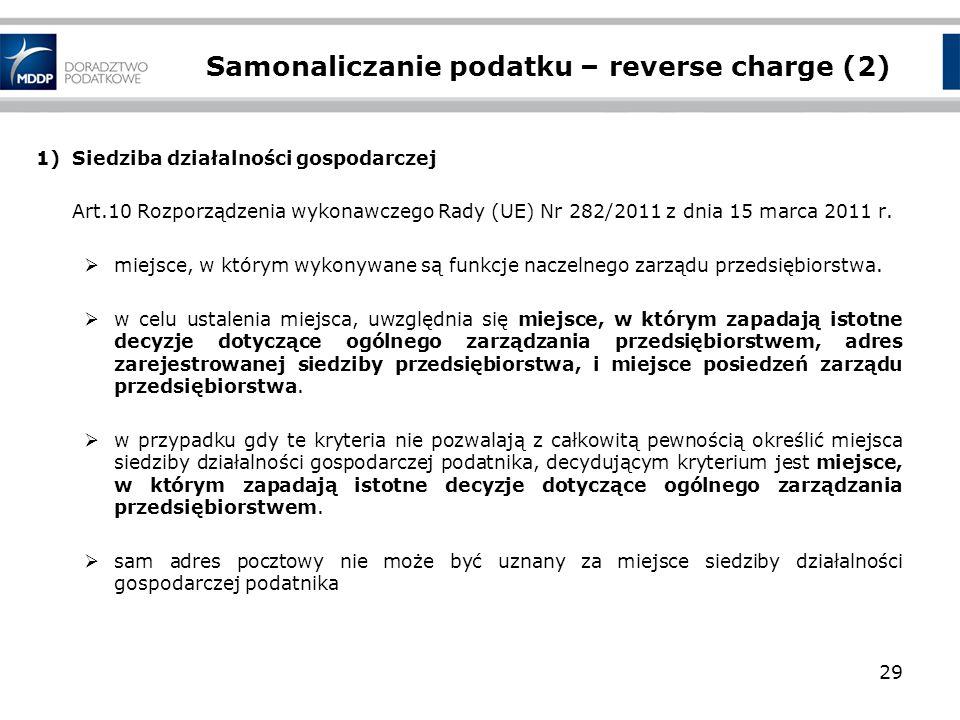 Samonaliczanie podatku – reverse charge (2) 1)Siedziba działalności gospodarczej Art.10 Rozporządzenia wykonawczego Rady (UE) Nr 282/2011 z dnia 15 ma