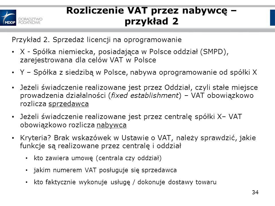 Przykład 2. Sprzedaż licencji na oprogramowanie X - Spółka niemiecka, posiadająca w Polsce oddział (SMPD), zarejestrowana dla celów VAT w Polsce Y – S
