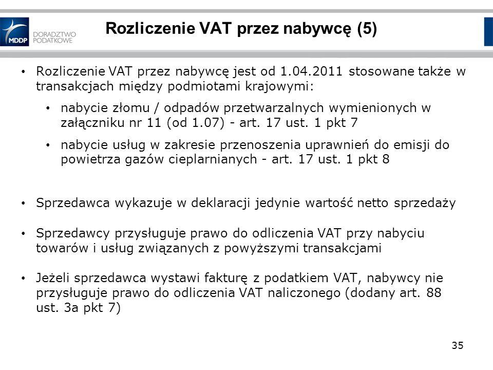 Rozliczenie VAT przez nabywcę jest od 1.04.2011 stosowane także w transakcjach między podmiotami krajowymi: nabycie złomu / odpadów przetwarzalnych wy