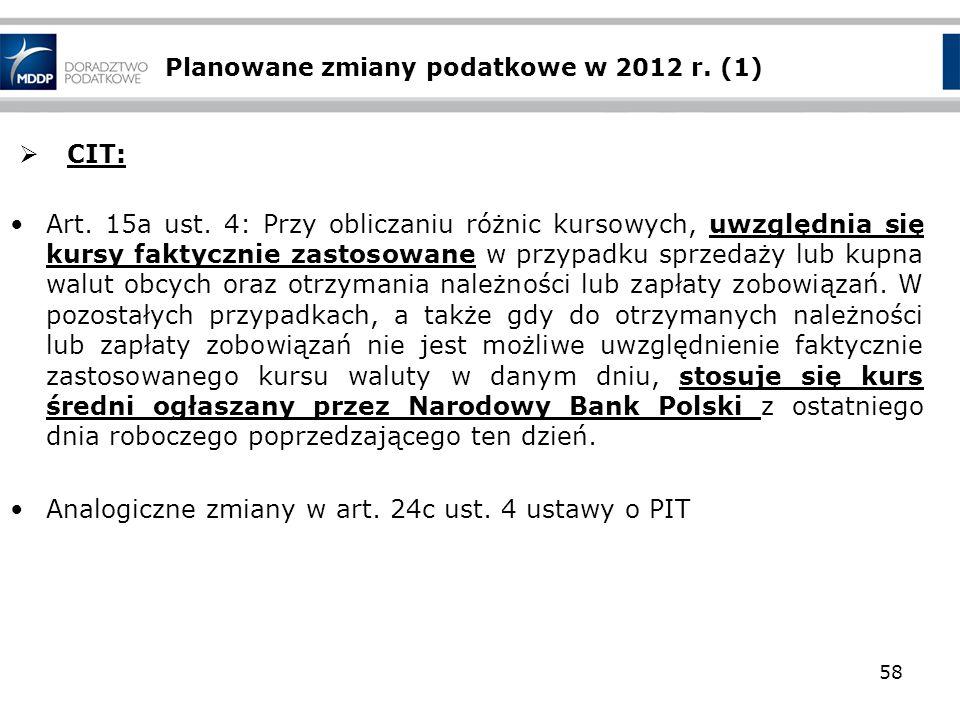 Planowane zmiany podatkowe w 2012 r. (1) CIT: Art. 15a ust. 4: Przy obliczaniu różnic kursowych, uwzględnia się kursy faktycznie zastosowane w przypad