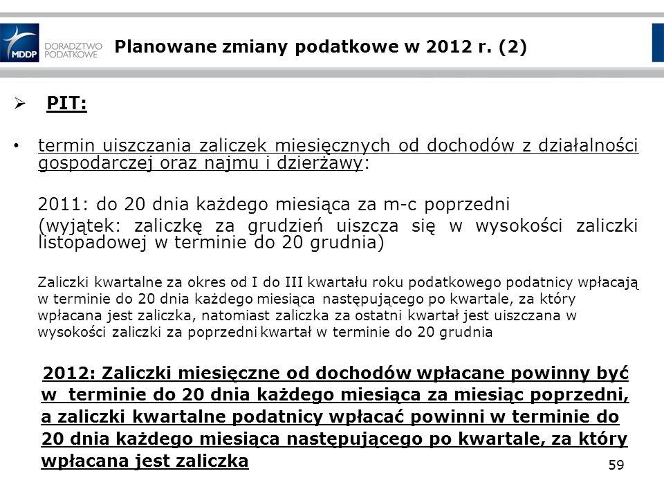 Planowane zmiany podatkowe w 2012 r. (2) PIT: termin uiszczania zaliczek miesięcznych od dochodów z działalności gospodarczej oraz najmu i dzierżawy: